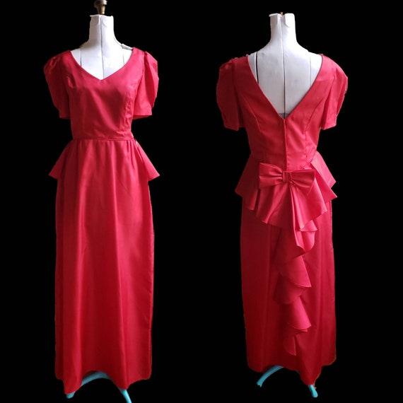 dress  80s vintage  Randi Meryl 80s Vtg sz 10 Peplum Tea Length Dress  savannahwillow