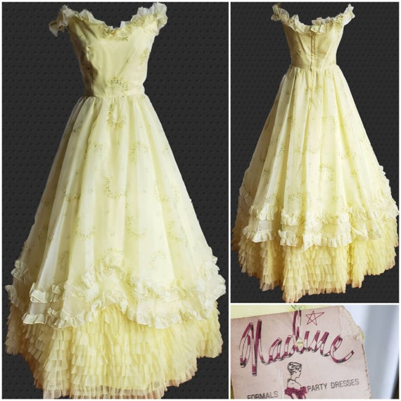 Vintage Prom / 50s Prom Dress / Yellow Floral / Chiffon Ball Gown / Ruffles  / New Old Stock ,Nadine Formals
