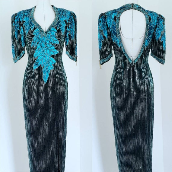 80s Prom Dress / Vintage Prom Dress / Turquoise /