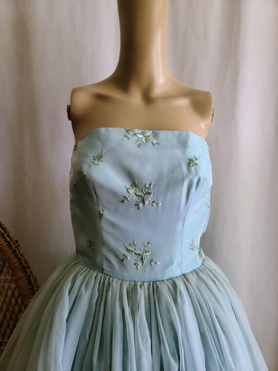 50s Prom Dress / Vintage Prom Dress / Baby Blue /… - image 4