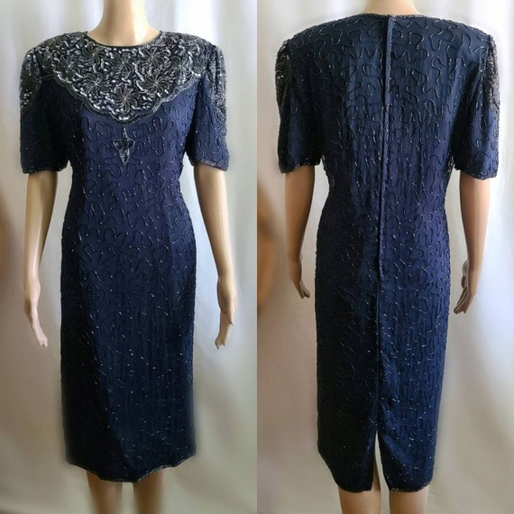 90s Prom Dress / Vintage Prom Dress / Navy and Sil
