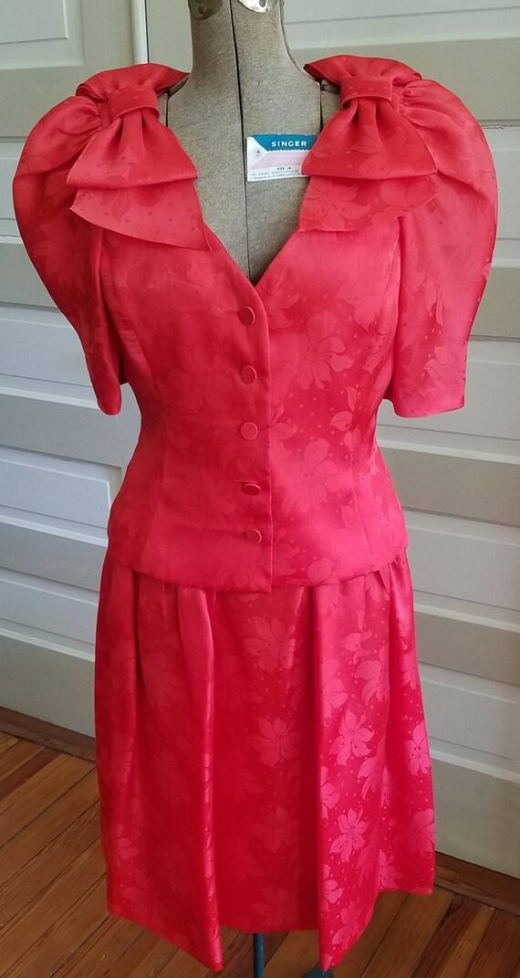 80s Adele Simpson / SALE  / Red Silk Skirt Suit /