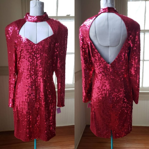 90s Prom Dress / Vintage Prom Dress / Red Sequin /