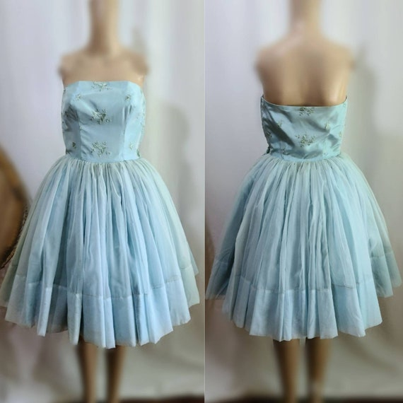 50s Prom Dress / Vintage Prom Dress / Baby Blue /… - image 1