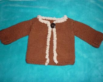 Jacket / vest for baby girl Brown