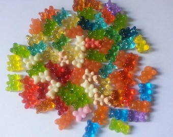 Mini-oursons imitation gelatin resin mulitcouleurs 20 PCs per lot