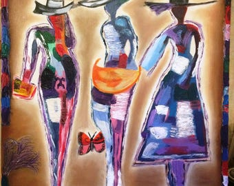 Silhouettes of three women oil painting
