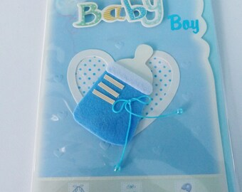 baby boy congratulations card baby boy blue 3D felt Ribbon and Pearl bottle embossed