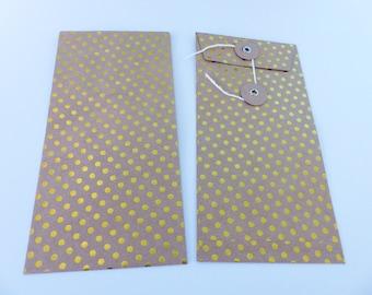 2 rectangular bright yellow dots and Japanese closing kraft bag envelope