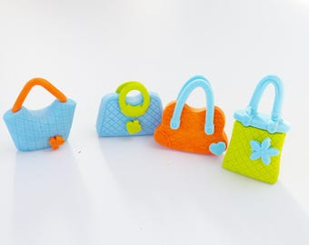Set of 4 erasers fun supply kit bag