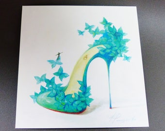 Green stiletto shoe and Butterfly card