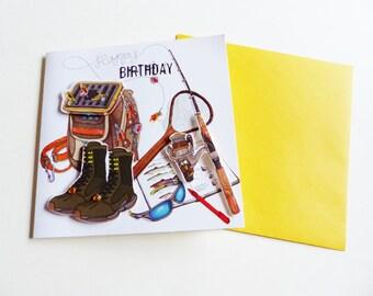 Super embossed birthday card 3D fishing fisherman stranded cane fly shoe bag matching envelope