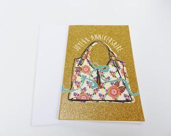 happy birthday glitter gold handbag
