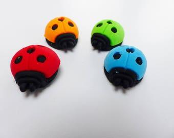 Set of 4 erasers Ladybug animal fun supply kit