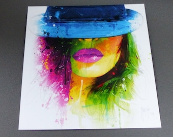 card face colorful woman hat and lips