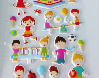 sheet of stickers in relief and repositionable playground sandbox swing bike ice slide