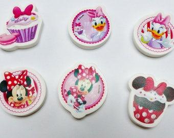 6 Minnie Mouse Daisy cupcake cake eraser collection Kit Disney kids gum Eraser