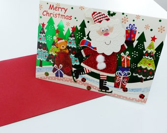 Merry Christmas Merry CHRISTMAS card dual raised eyes glitter Santa paper red tassel mobile