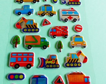 puffy stickers puffy crane cab bus ambulance police stickers backhoe 3D dump truck