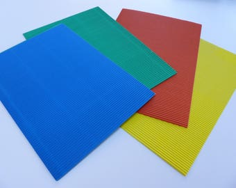 4 sheets of cardboard corrugated A4 size green blue yellow and orange