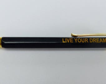 1 pencil ball pen to write message ink blue live your dream