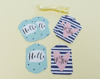 12 tag embellishment scrapbooking blue and pink stripe heart gift tags hello Hey You