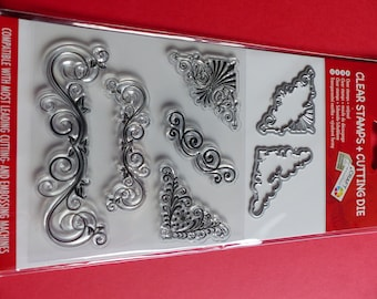 2 die cut 5 clear stamps nooks and arabesque