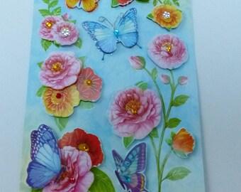 tabla de surf pegatinas 3D flor y mariposa en relieve con diamantes de imitación