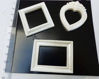 3 mini frame resin heart square and rectangle ivory