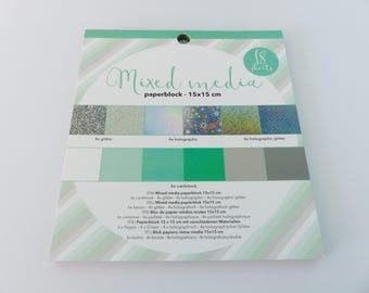 holographic glitter cardstock block 18 leaves square green and silver holographic glitter paperblock 15 x 15 cm