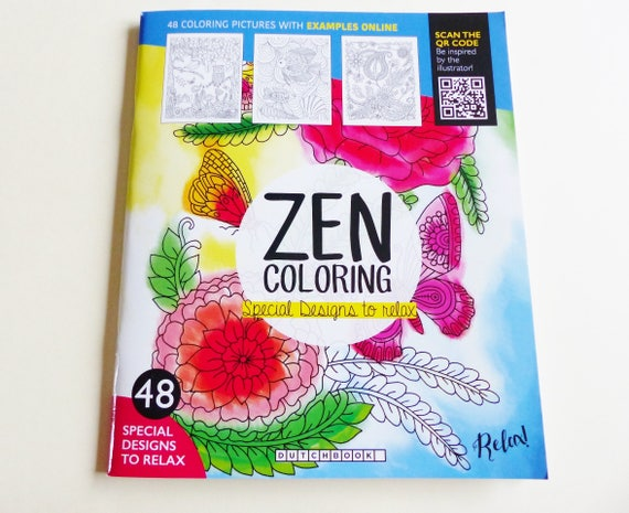 Coloring Book ZEN 48 Designs Relax Flower Animal DOE