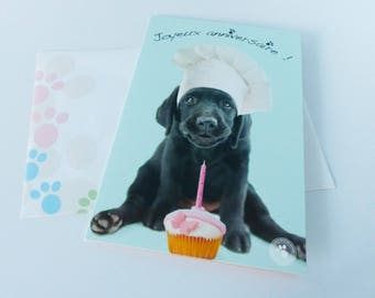 dog happy birthday cupcake greeting card with envelope with card