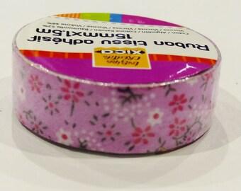 fabric Ribbon 1,50 m adhesive tape 15 mm purple ornate scroll