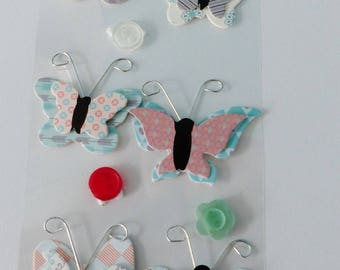 12 stickers in 3D Butterfly antenna embellishment buttons and metal