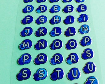 round letter alphabet letters stickers blue puffy stickers puffy 3D