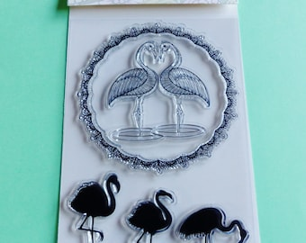 5 transparent stamp Flamingo Pink flamingo and Crown circle clear stamp tropical summer tropical