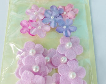 30 mini pink and purple flower with pearls and shiny