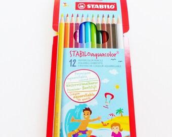 12 brightly colored watercolor coloring pencils Stabilo watercolor pencils