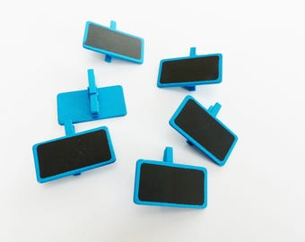 6 mini clothespins slate rectangle blue