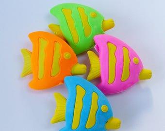 Set of 4 erasers fish animal fun supply kit
