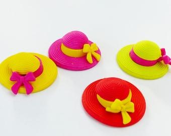Set of 4 erasers Hat fun supply kit