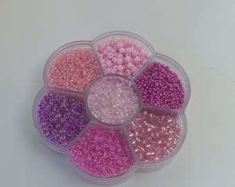 assorted pink and purple tones with wire and clasps carousel seed beads
