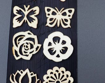butterflies and flowers 8 different wooden embellishments