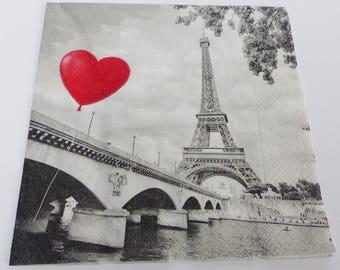 7 napkin red heart balloon Eiffel Tower Paris Seine bridge in Paris 33 X 33 cm napskin