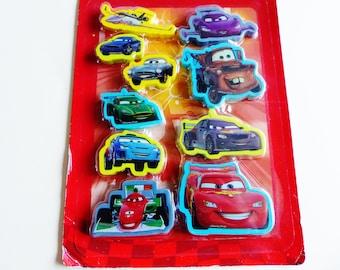set of 10 erasers DISNEY eraser Kit Office fun cute kids Lightning McQueen CARS