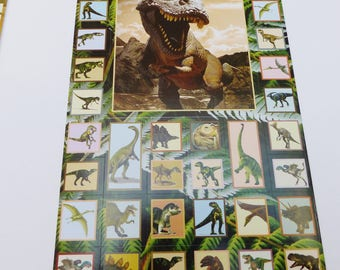 48 dinosaurs in square and rectangle stickers stickers
