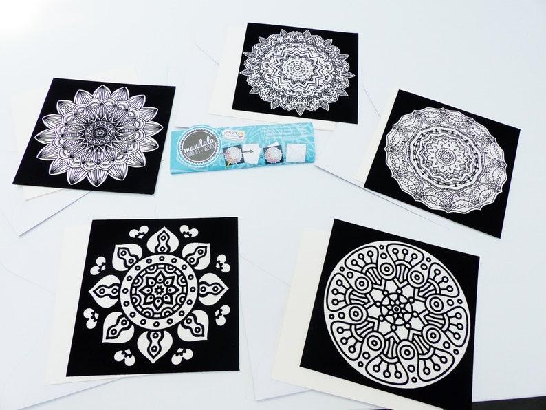 5 colorvelvet mandala cards Velvet Coloring with envelope 5   Etsy