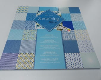 block paper 30 X 30 cm 24 cardboard sheets printed double-sided something blue shades of blue stripe cloud flower