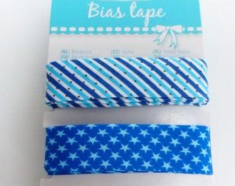 2 blue stripe folded bias tape and Star 2 X 2.5 meters width 20 mm