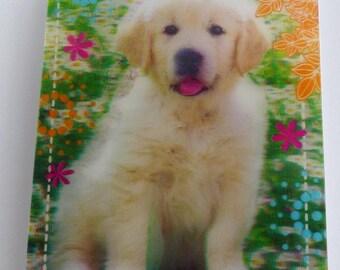 Notepad cover 3D golden retriever puppy dog
